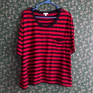 Blue & Red Striped Loose Crop Top!